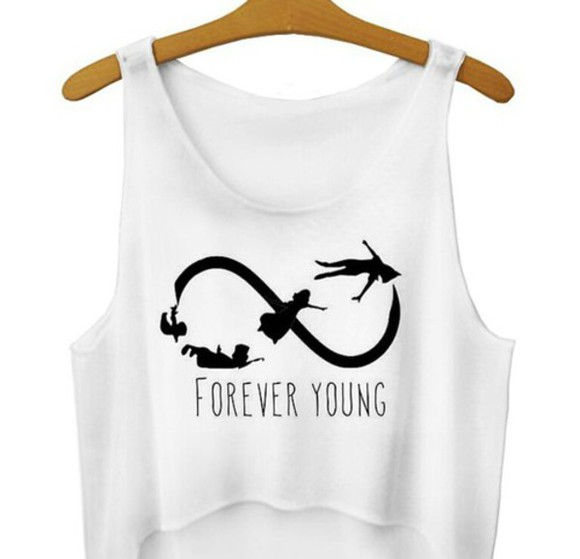 hipster top young forever singlet peter pan forever young teen swag style cool infinity quote on it