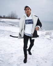 alexander liang,blogger,sweater,jacket,jeans,shoes,hat,menswear,mens coat,winter outfits,mens hoodie