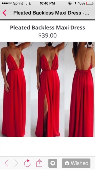 dress pleated maxi dress red backless