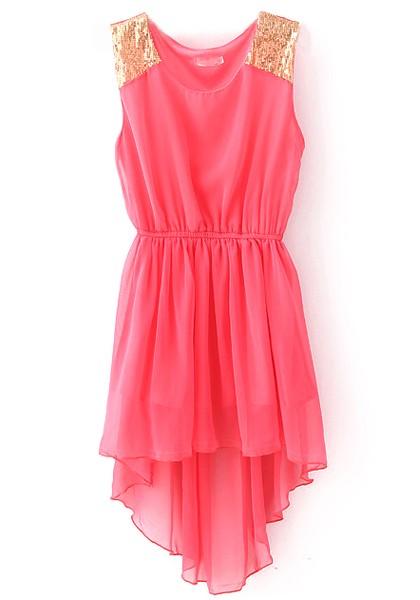 Red Plain Sequin Irregular Sleeveless Chiffon Dress