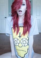 t-shirt,bart simpson,clothes,grey,shirt,the simpsons,pentagram,smiley,cross,upside down cross,hail satan,alternative