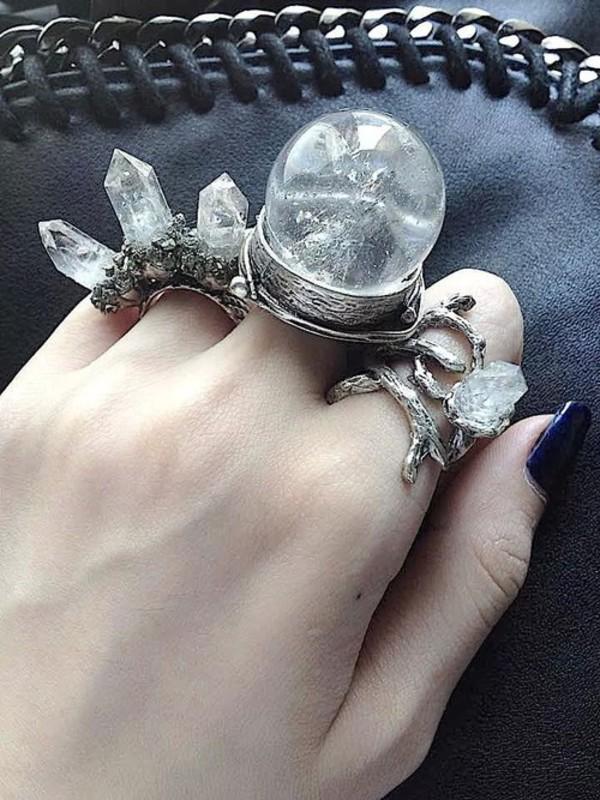 silver ring snow ring crystal leather bag bag dark nails pale grunge pale grunge