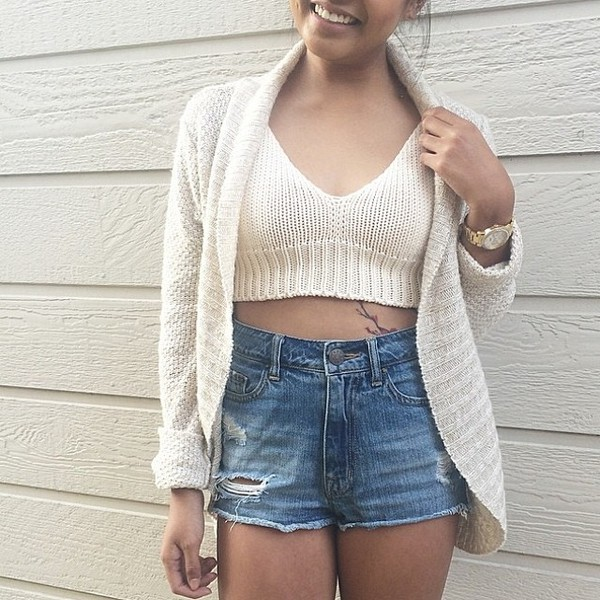 top knitted crop top cardigan