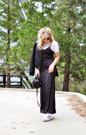 love maegan,blogger,dress,t-shirt,jacket,sunglasses,bag,dress over t-shirt,slip dress,maxi dress,black maxi dress,white t-shirt,white top,black jacket,handbag,black bag,sneakers,low top sneakers,adidas,adidas shoes,adidas superstars,black dress,slit dress,side slit