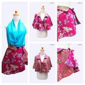 blouse,blue,neon,shirt,sleeveless,sleeveless top,v neck,cape,skirt,mini skirt,red skirt,cotton,polyester
