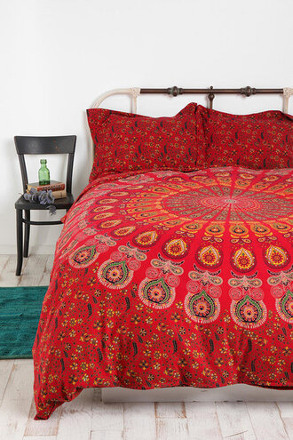 scarf bedding red pattern circle