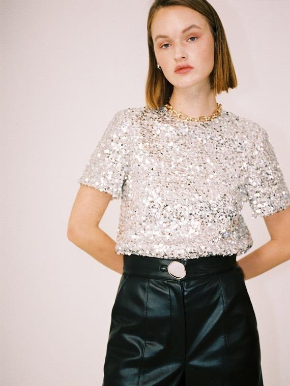 ashley sequins short sleeve top