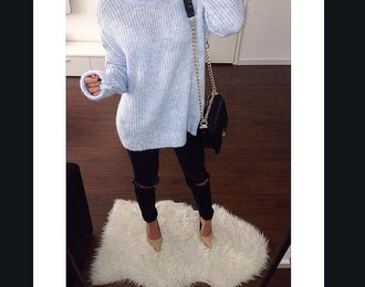 pants chanel purse chanel bag loub ripped jeans sweater grey sweater black jeans black high waisted pants style fashion heels on gasoline heel high waisted jeans high heels hot pants slit oversized sweater nail polish nails cute high heels louboutin gloves