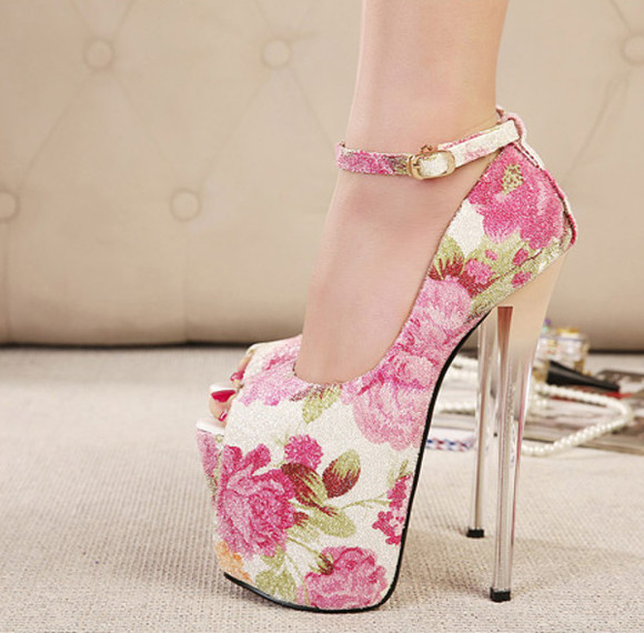 wedding shoes floral high heels fashion party strappy