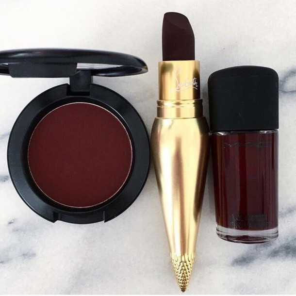 make-up lipstick oxblood eye shadow nail polish louboutin dark lipstick dark nail polish burgundy party make up makeup brushes lip gloss sweater nike
