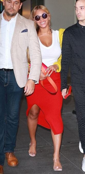 skirt midi skirt red top beyonce cardigan