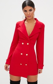dress,red dress,red coat,red,coat,buttons,sexy party dresses,office outfits,formal dress,nice dress,women