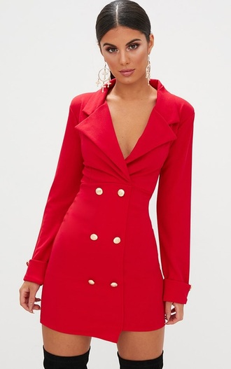 dress red dress red coat red coat buttons sexy party dresses office outfits formal dress nice dress women