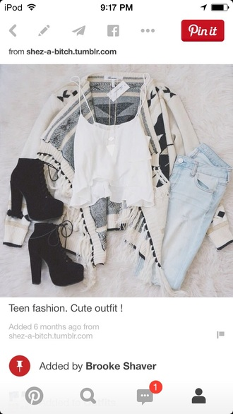 jeans shoes jewels sweater tank top