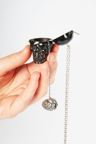 jewels black skull skeleton necklace brain silver emo goth creepy