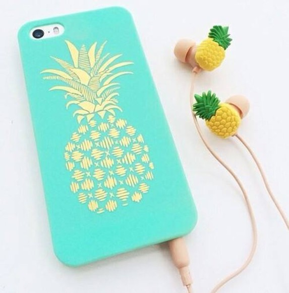 turquoise pineapple print gold print phone case want want want earphones ananas phone case jewels mint mobile mobilecase mobile case mobile handset headphones yellow case for iphone 4/4s/5 iphone case bag iphone case handy pineapple print phone case