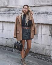 bag,mini bag,shoulder bag,crocodile,denim skirt,mini skirt,leopard print,boots,belt,coat,turtleneck