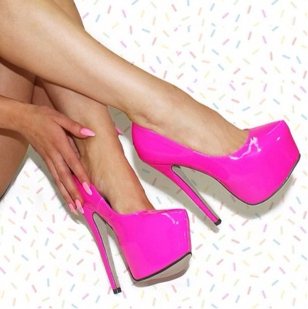 shoes neon neon pink high heels platform shoes sexy sexy high heels platform high heels pink baby pink