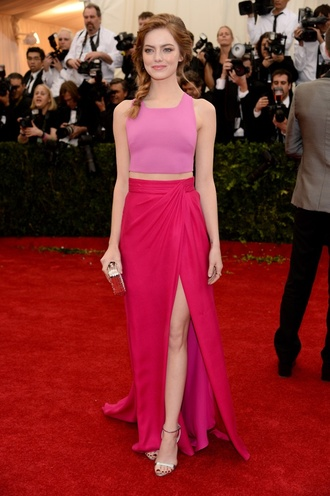 skirt red long skirt maxi skirt fushia pink red carpet glamour celebrity style dress emma stone emma stone 2014 met gala dress emma stone pink dress emma stone two piece dress top pink dress pink top pink tank top pink skirt split skirt sexy dress emma stone dress sexy prom dress custom dress