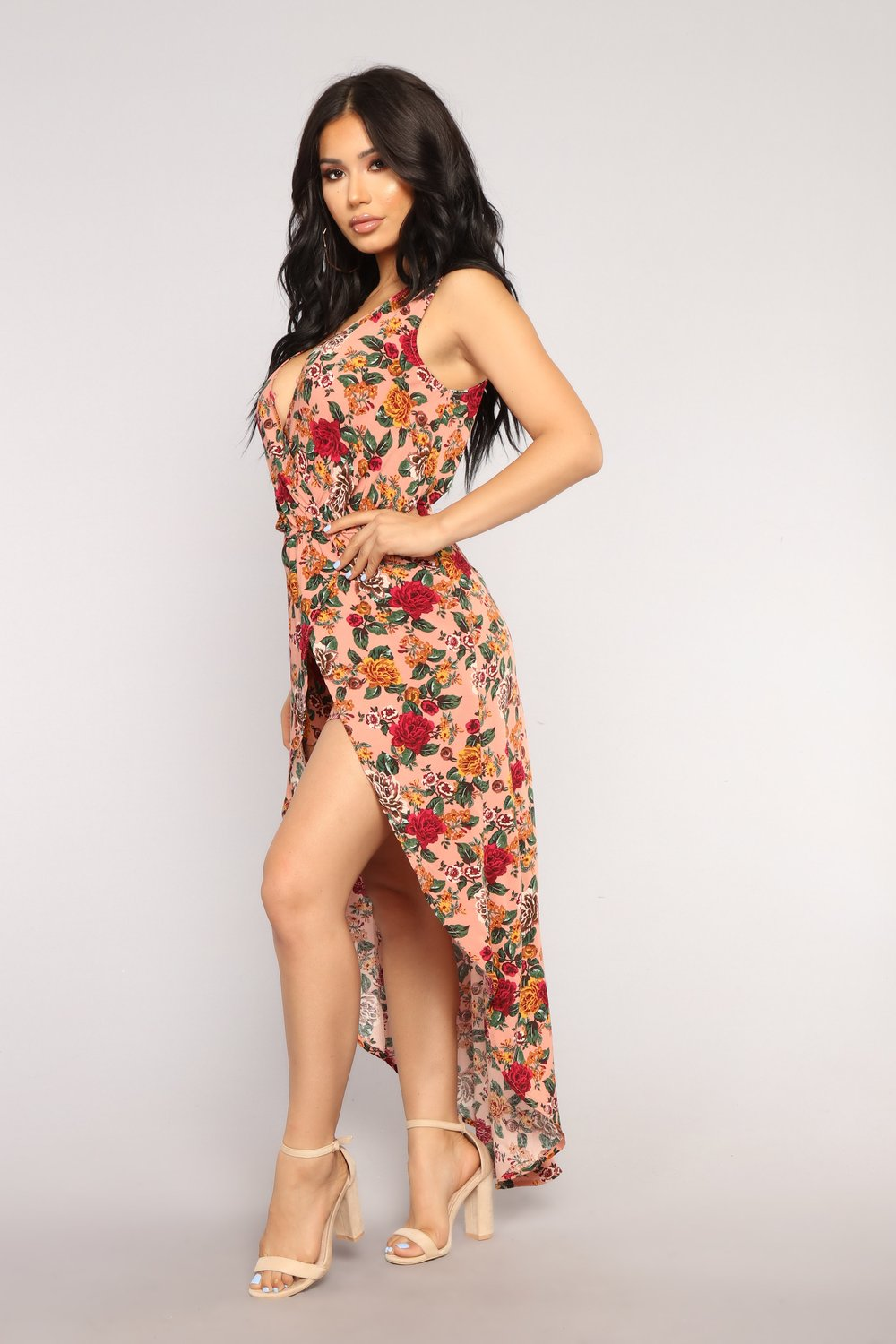 Pick A Pretty Flower Maxi Romper - Mauve