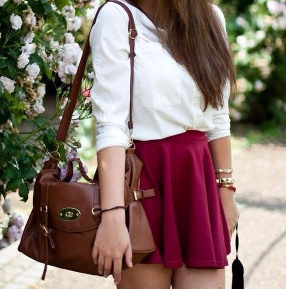 bag blouse bordeaux skirt skater skirt
