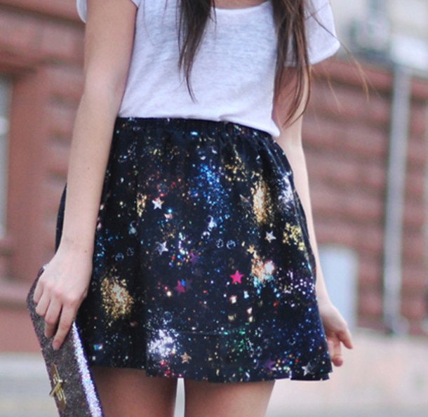 galaxy skirt stars galaxy print splatter skirt mini skirt skirt