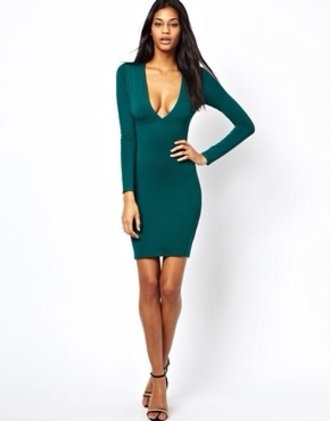 dress emerald green plunge neckline long sleeves knee length dress skin tight