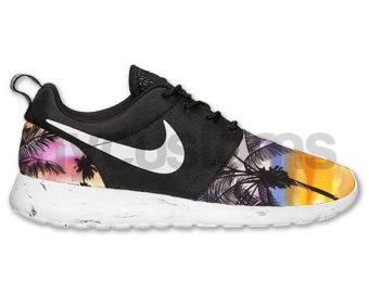 POP UP vente (1 acheteur chanceux)--Nike Run Roshe noir marbre tropicale palmier imprimer personnalisé V5 Edition hommes & femmes