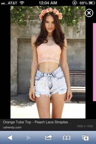 shirt flowers pink crop tops tube top crochet high waisted shorts denim headband