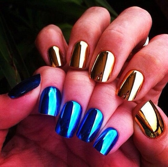 gold metallic shiny nail polish blue,