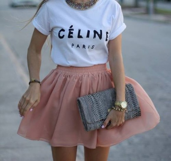 unique amazing skirt pink short lovely girly hippie hippie chic fashionable be fashionable unique style i want it so bad ! please find it shirt celine paris shirt celine paris t shirt celine bag