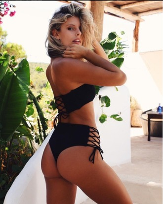 swimwear perfect peach swim bikini lace up lace up bikini black reversible reversible bikini high waisted high waisted bikini beandeau bandeau top
