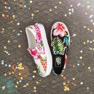 shoes vans flowers hawaiian