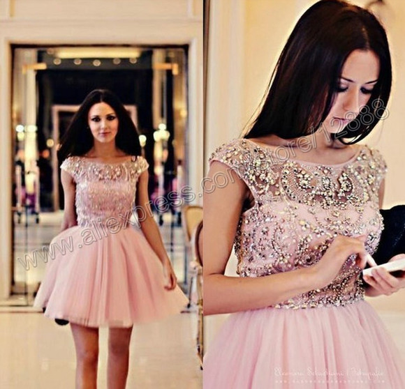 prom dress mini dress short dress girl dress homecoming dress beading cap sleeve dress gown mini dressses
