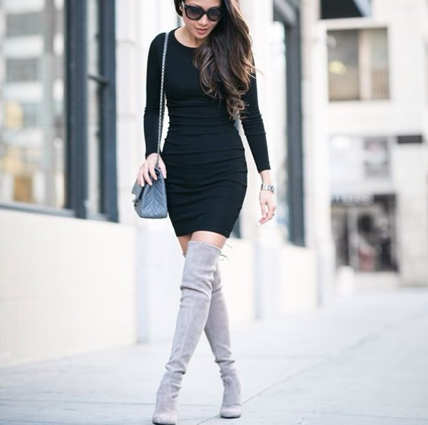 shoes grey overknee boots