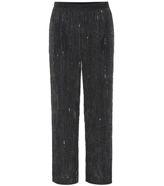 Velvet Wide-leg sequinned pants in black