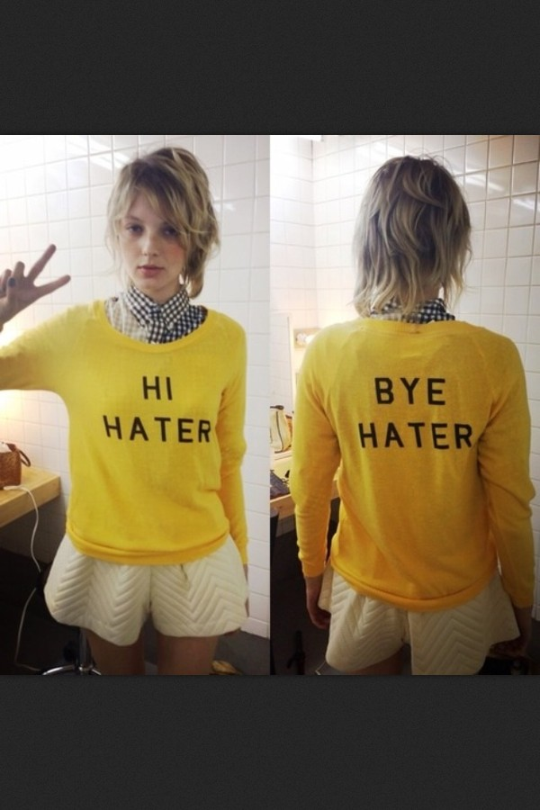 sweater color me nana yellow banana print fashion handsome cute tags for help haters haters gonna hate hi hater girl girly girly grunge