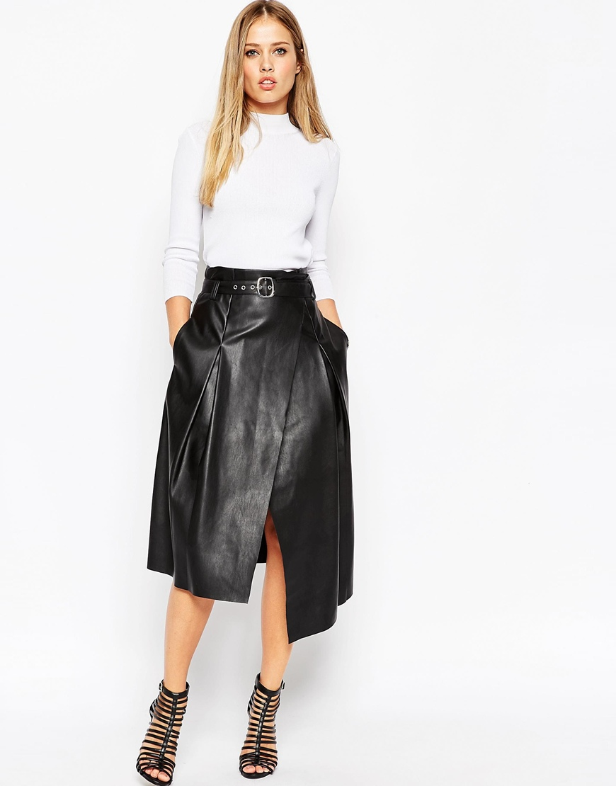Midi Skirt In Leather Look With Wrap Detail at asos.com