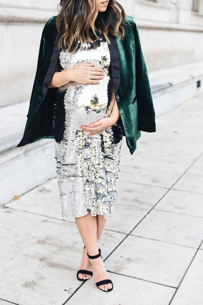 crystalin marie blogger dress jacket shoes jewels maternity dress silver dress sequin dress blazer green jacket sandals