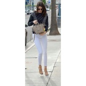 jeans,kendall jenner,white jeans,cropped pants,jeggings,bag