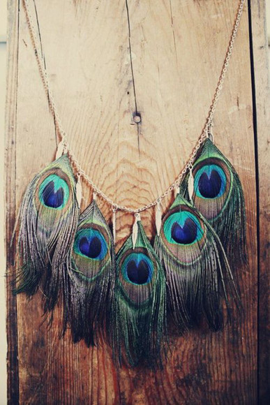 jewels feathers necklace