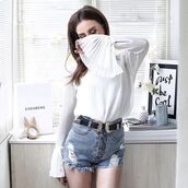 shirt,tumblr,white blouse,blouse,bell sleeves,double buckle belt,belt,shorts,denim shorts,blue shorts,distressed denim shorts,button up,wester belt