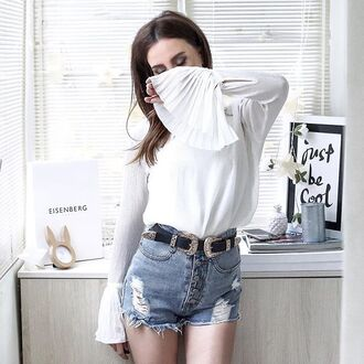 shirt tumblr white blouse blouse bell sleeves double buckle belt belt shorts denim shorts blue shorts distressed denim shorts button up wester belt