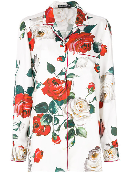 Dolce & Gabbana shirt women floral white print silk top