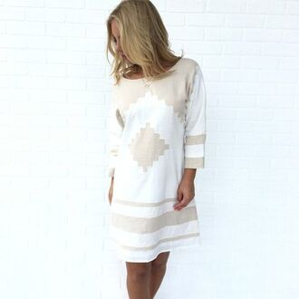 dress long sleeve dress open back dresses aztec metallic white and gold dress