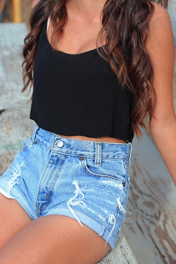 Sale: slightly distressed high waisted shorts levi brand