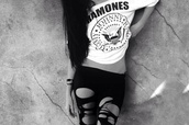 t-shirt,pants,shirt,leggings,tank top,ramones,white,black,b&w,black and white,girl,grunge