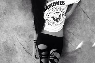 t-shirt pants shirt leggings tank top ramones white black b&w black and white girl grunge