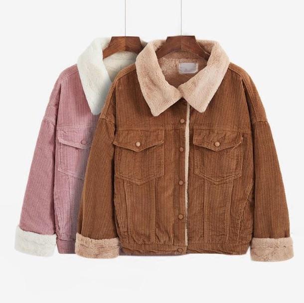 jacket girly pink brown fur fur coat fur jacket corduroy