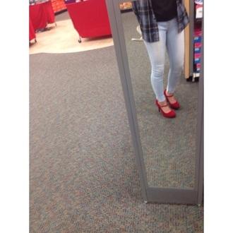 shoes heels pumps red heels strappy heels